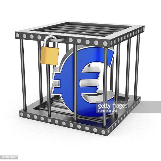euro symbol locked inside a steel cage - atomic imagery stock pictures, royalty-free photos & images