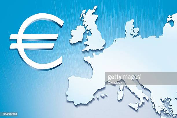 euro symbol next to map of europe - europa kontinent stock-fotos und bilder