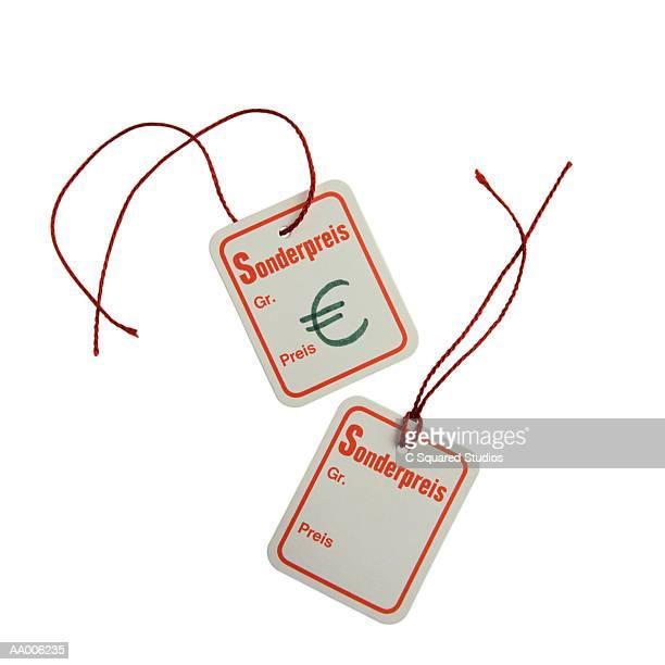 euro symbol on german price tags - preisschild stock-fotos und bilder