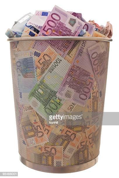 Euro € trash bin - EU euro economy trashcan concept