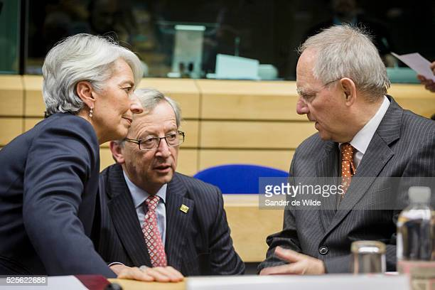 Euro zone finance ministers and officials meet in Brussels to discuss Greek reforms. In this picture IMF Managing Director Christine Lagarde ,...