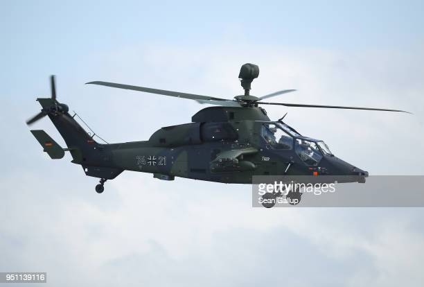 Eurocopter Tiger attack helicopter of the Bundeswehr flies at the ILA Berlin Air Show on April 25 2018 in Schoenefeld Germany ILA Berlin is Europe's...