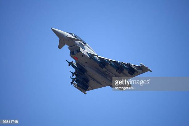 eurofighter typhoon fighter aircraft in flight - raf stock pictures, royalty-free photos & images