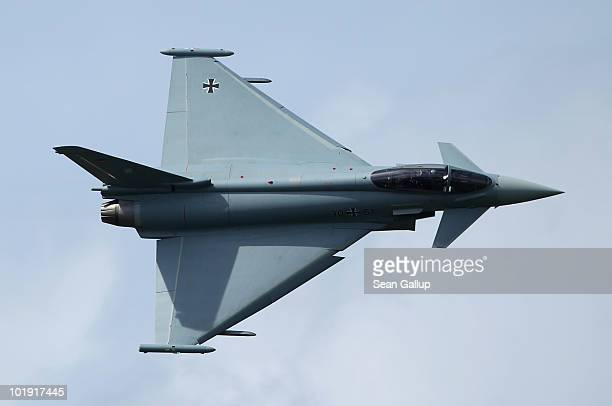 Eurofighter Typhoon fighter jet flies at the ILA Berlin Air Show on June 9 2010 in Berlin Germany The 2010 ILA the world's oldest air show runs from...