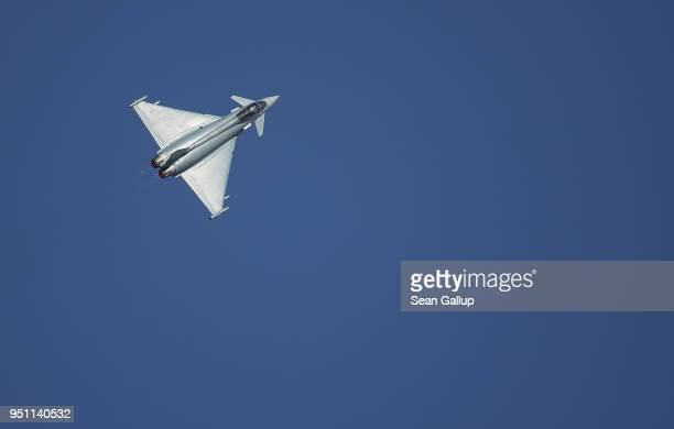 Eurofighter Typhoon jet fighter plane flies at the ILA Berlin Air Show on April 25 2018 in Schoenefeld Germany ILA Berlin is Europe's third largest...