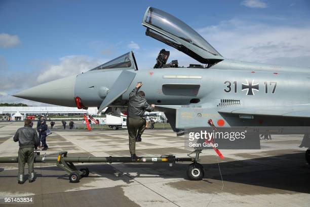 Eurofighter Typhoon jet fighter plane of the Bundeswehr the German armed forces stands at the ILA Berlin Air Show on April 26 2018 in Schoenefeld...