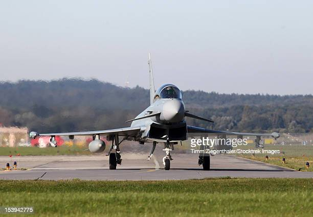 A Eurofighter Typhoon of the German Air Force taxiing at Neuburg, Germany.