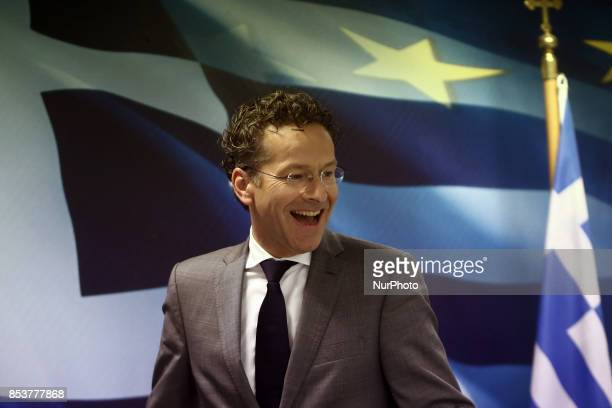 Eurogroup chief Jeroen Dijsselbloem arrives to a press conference at the Finance Ministry after his meeting with Greek Fin Minister in Athens on...