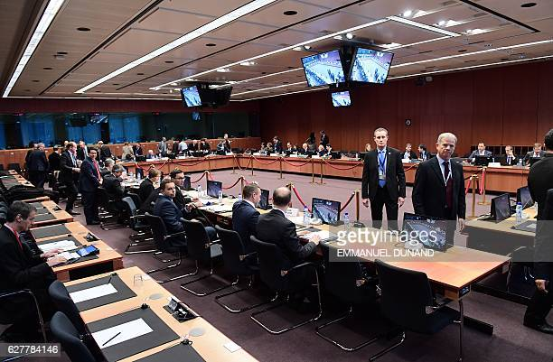 Eurogroup finance ministers wait prior to take part in a Eurogroup finance ministers meeting at the European Council in Brussels on December 5 2016 /...