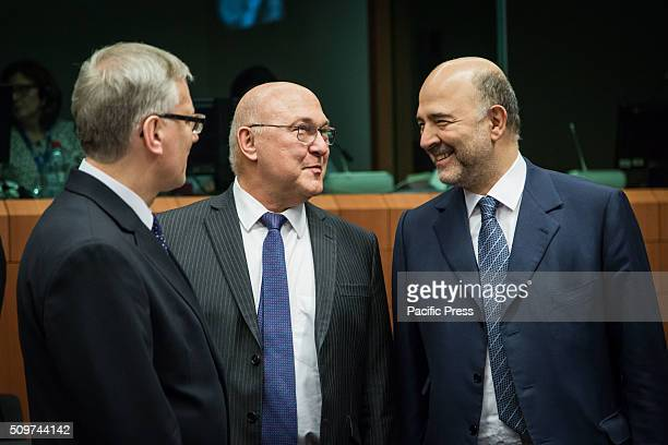 Eurogroup Meeting in Brussels with the Finance Ministers of the European Union Michel Sapin French Fiance Minister and Pierre Moscovici European...