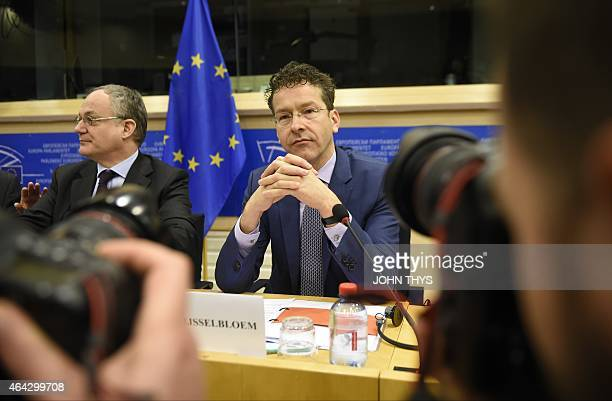 Eurogroup President and Dutch Finance Minister Jeroen Dijsselbloem is pictured during his speech in front of Committee on Economic and Monetary...