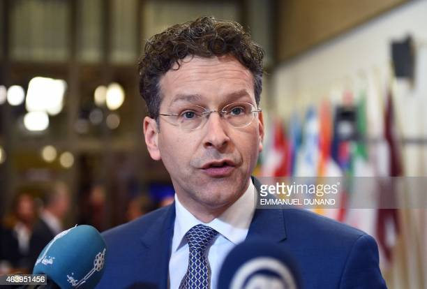 Eurogroup President and Dutch Finance Minister Jeroen Dijsselbloem talks to the press prior to the delayed start of an emergency Eurogroup finance...