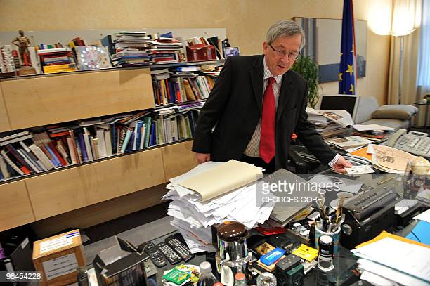 Eurogroup president and Luxembourg Prime Minister JeanClaude Juncker stands in his personal office on April 13 2010 in Luxemburg prior an interview...