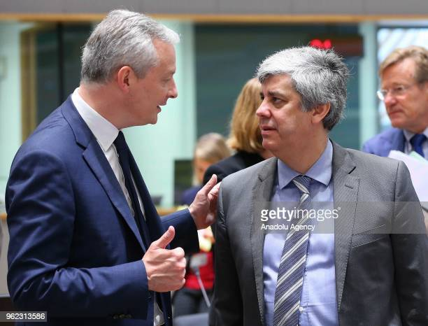 Eurogroup President Mario Centeno and French Minister of Economy Bruno Le Maire attend Economic and Financial Affairs Council meeting in Brussels...