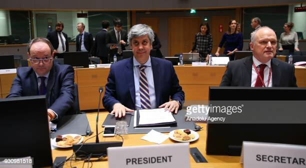 Eurogroup President Mario Centeno attends the Eurogroup ministers' meeting in Brussels Beligum on March 12 2018