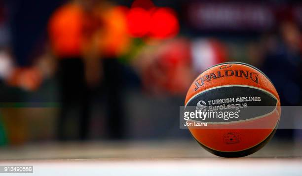 Euroleague ball waits during the 2017/2018 Turkish Airlines EuroLeague Regular Season Round 21 game between Baskonia Vitoria Gasteiz and Crvena...