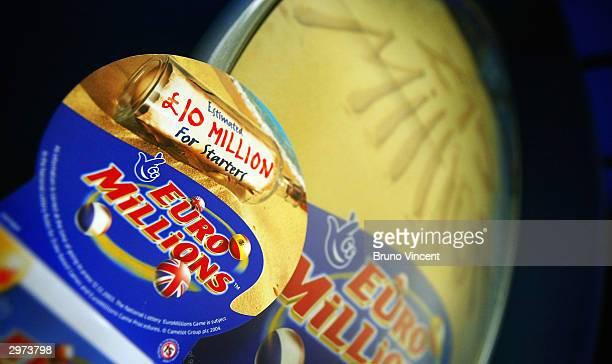 Euromillions signage is seen February 12 2004 in central London England The first draw of the new Euromillions lottery game will take place friday...