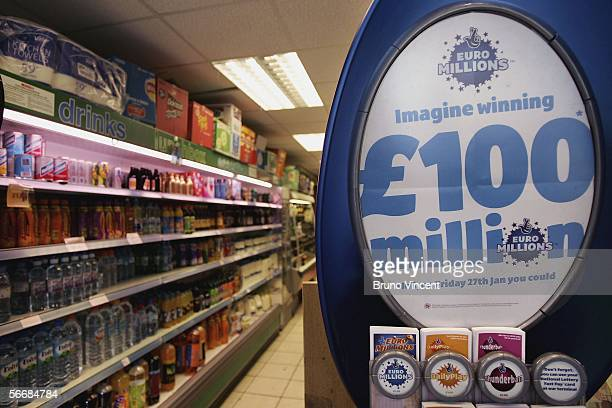 Euromillions tickets are seen in a newsagents on January 27 2005 in London England The european lottery has rolled over for several weeks and is now...