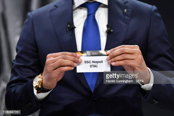Europa League ambassador Pierre van Hooijdonk draws out the name of Napoli during the UEFA Europa League 2018/19 Quarterfinal Semifinal and Final...