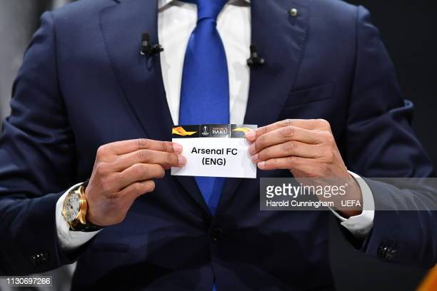 Europa League ambassador Pierre van Hooijdonk draws out the name of Arsenal during the UEFA Europa League 2018/19 Quarterfinal Semifinal and Final...