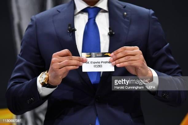 Europa League ambassador Pierre van Hooijdonk draws out the name of Slavia Praha during the UEFA Europa League 2018/19 Quarter-final, Semi-final and...