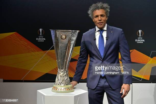 Europa League ambassador Pierre van Hooijdonk with the trophy prior to the UEFA Europa League 2018/19 Quarterfinal Semifinal and Final draws at the...