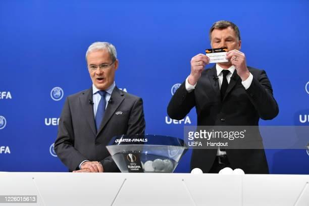 Europa League Ambassador Thomas Helmer draws out the card of Eintracht Frankfurt/FC Basel 1893 during the UEFA Europa League 2019/20 Quarterfinal...