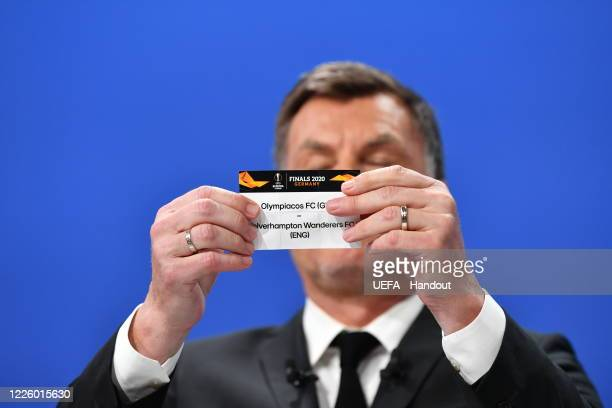 Europa League Ambassador Thomas Helmer draws out the card of Olympiacos FC/Wolverhampton Wanderers FC during the UEFA Europa League 2019/20...