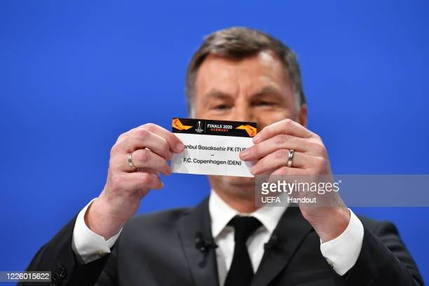 Europa League Ambassador Thomas Helmer draws out the card of Istanbul Basaksehir FK/FC Copenhagen during the UEFA Europa League 2019/20 Quarterfinal...