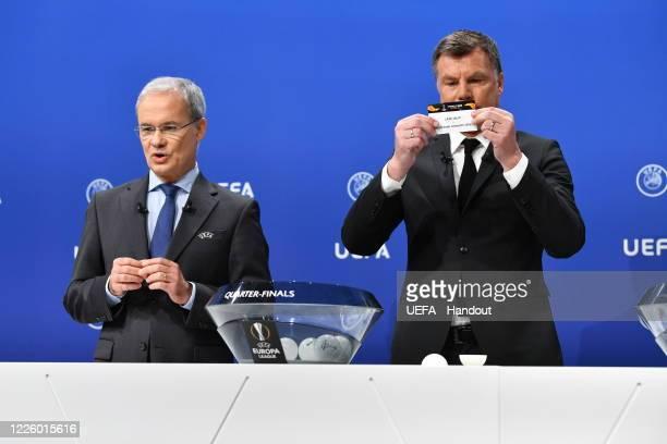 Europa League Ambassador Thomas Helmer draws out the card of LASK/Manchester United FC during the UEFA Europa League 2019/20 Quarterfinal Semifinal...