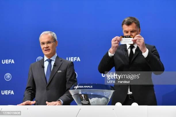 Europa League Ambassador Thomas Helmer draws out the card of VfL Wolfsburg/ FC Shakhtar Donetsk during the UEFA Europa League 2019/20 Quarterfinal...