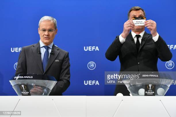 Europa League Ambassador Thomas Helmer draws out the card of 'Winner of quarterfinal 4' during the UEFA Europa League 2019/20 Quarterfinal Semifinal...