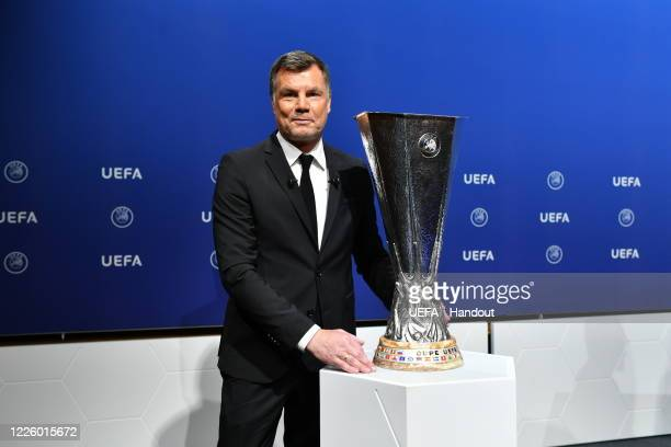 Europa League Ambassador Thomas Helmer with the trophy following the UEFA Europa League 2019/20 Quarterfinal Semifinal and Final draw at the UEFA...