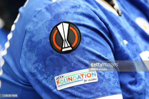 Europa League badge on a Leicester City shirt during the Premier League match between Brighton & Hove Albion and Leicester City at American Express...