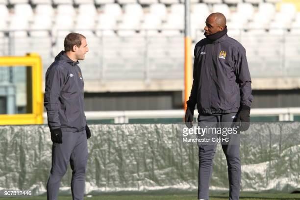 Europa League Group A Juventus v Manchester City Manchester City Training Stadio Olimpico Manchester City's Pablo Zabaleta and Patrick Vieira during...