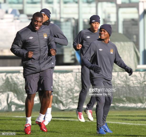 Europa League Group A Juventus v Manchester City Manchester City Training Stadio Olimpico Manchester City's Micah Richards and Alex TchuimeniNimely...