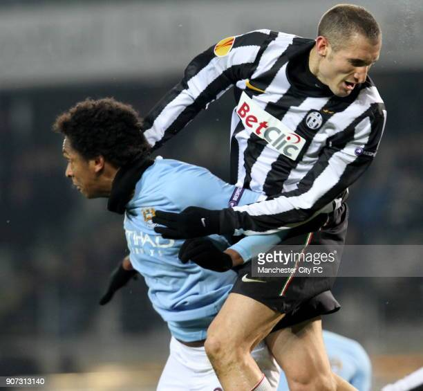 Europa League Group A Juventus v Manchester City Stadio Olimpico Manchester City's Jo is challenged in the air by Giorgio Chiellini of Juventus