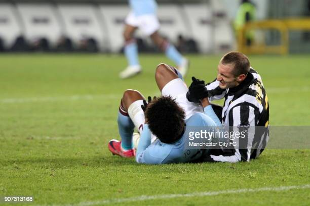Europa League Group A Juventus v Manchester City Stadio Olimpico Jo of Manchester City and Giorgio Chiellini of Juventus lie on the floor