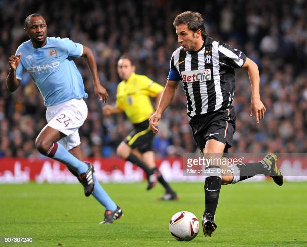 Europa League Group A Manchester City v Juventus City of Manchester Stadium Juventus' Alessandro Del Piero in action with Manchester City's Patrick...