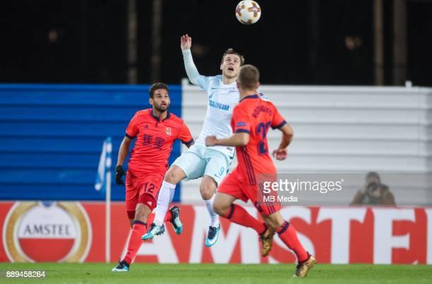 Europa League Group L Round 6 football match Real Sociedad Zenit 1 3 Real Sociedad's Willian Jose Da Silva Zenit St Petersburg's Aleksander Kokorin...