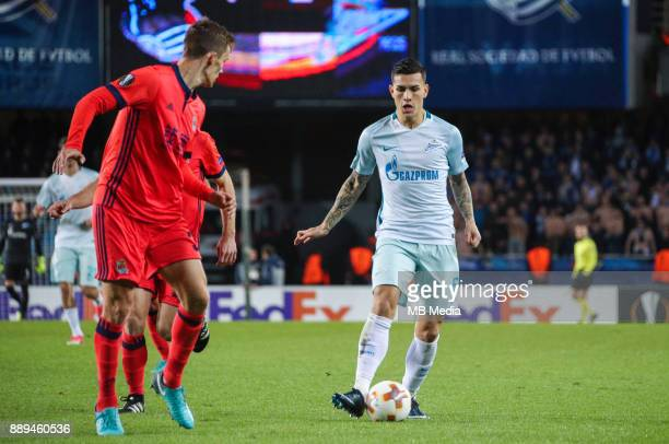 Europa League Group L Round 6 football match Real Sociedad Zenit 1 3 Real Sociedad's Diego Javier Llorente Rios and Zenit St Petersburg's Leandro...