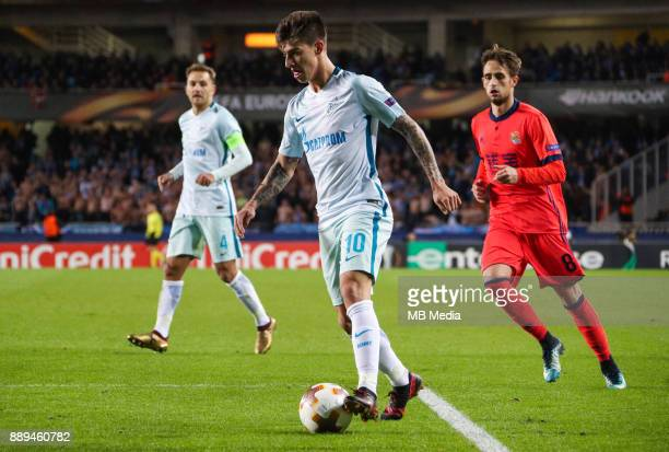 Europa League Group L Round 6 football match Real Sociedad Zenit 1 3 Zenit St Petersburg's Domenico Criscito Zenit St Petersburg's Emiliano Rigoni...