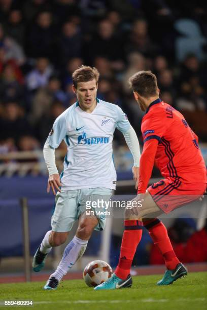 Europa League Group L Round 6 football match Real Sociedad Zenit 1 3 Zenit St Petersburg's Aleksander Kokorin and Real Sociedad's Diego Javier...