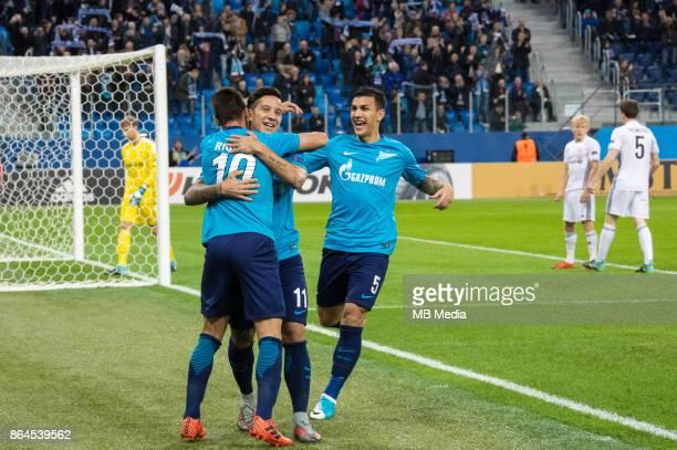 Zenit St Petersburg 3 'u2013 1 Rosenborg BK Zenit St Petersburg's Emiliano Rigoni Sebastian Driussi and Leandro Paredes celebrate scoring
