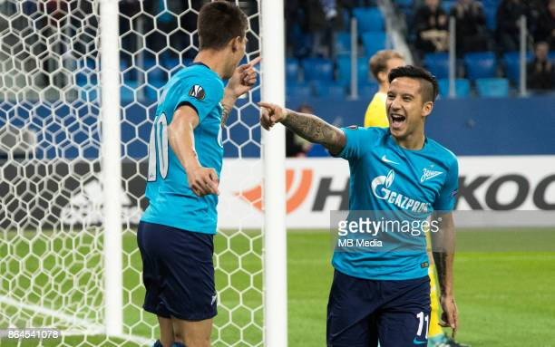 Zenit St Petersburg 3 'u2013 1 Rosenborg BK Zenit St Petersburg's Emiliano Rigoni and Sebastian Driussi celebrate scoring