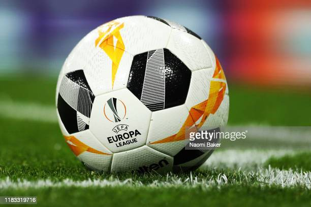 Europa League logo is pictured on the match ball during the UEFA Europa League group F match between Arsenal FC and Vitoria Guimaraes at Emirates...