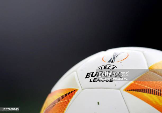 Europa League logo on a match ball during the UEFA Europa League Group J stage match between Tottenham Hotspur and PFC Ludogorets Razgrad at...
