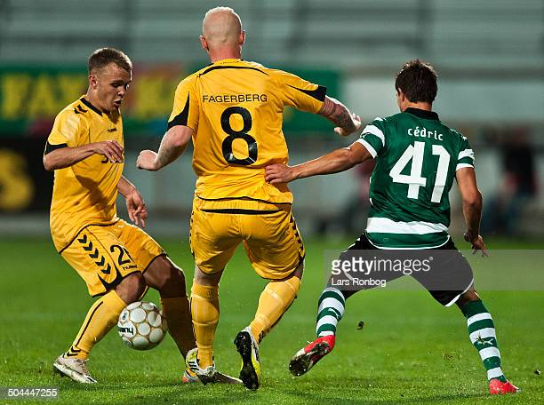 Europa League Playoff AC Horsens vs Sporting Portugal Lissabon Troels Kløve ACH AC Horsens Ken Fagerberg ACH AC Horsens Cedric Sporting Clube de...