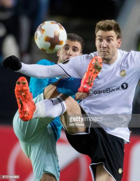 Rosenborg BK 11 Zenit St Petersburg Zenit St Petersburg's Emanuel Mammana and Rosenborg's Nicklas Bendtner