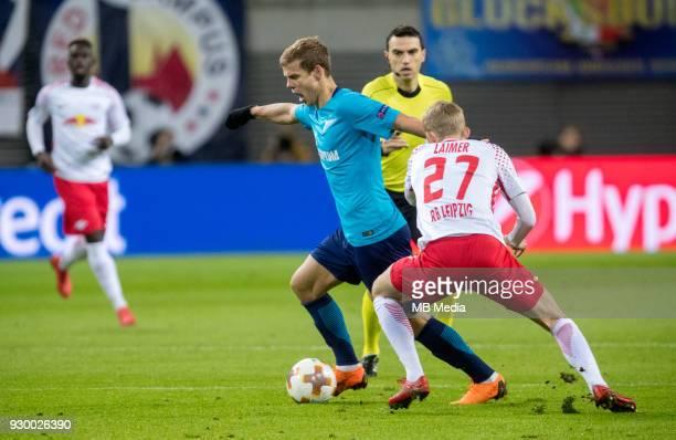 Europa League Round of 16 First leg Football match at RB Arena RB Leipzig 2 1 Zenit Zenit St Petersburg's Aleksander Kokorin and RB Leipzig's Konrad...